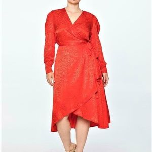 NWT new ELOQUII red Satin Puff Sleeve Wrap Dress